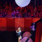 German model and host Klum is hoisted up from  stage during MTV European Music Awards 2012 in Frankfurt