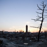 The wreckage of destoyed homes is seen in the Breezy Point neighborhood of Queens, New York