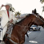 File photo of Hagman riding a horse as he arrives for a VIP preview party for the Collection of Larry Hagman at Julien's Auctions in Beverly Hills