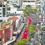 A 500-metre-long red carpet, which runs along Courtenay Place to the Embassy Theatre at the world premiere of 'The Hobbit - An Unexpected Journey', is seen in Wellington
