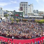 A 500-metre-long red carpet, which runs along Courtenay Place to the Embassy Theatre at the world premier of 'The Hobbit - An Unexpected Journey', is seen in Wellington