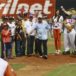 Venezuelan baseball player Cabrera of Major League Baseball's Detroit Tigers throws the ball during a ceremony to honour him in Maracaibo