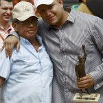 Venezuelan baseball player Miguel Cabrera of Major League Baseball's Detroit Tigers embraces Former Chicago White Sox player and Hall of Famers member Aparicio during a ceremony in Maracaibo