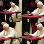 Combination picture shows Pope Benedict XVI posting his first tweet using iPad tablet after his Wednesday general audience at Vatican