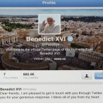 Pope Benedict XVI's twitter account is pictured with his first tweet on iPad tablet in this photo illustration taken in Milan