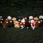 Stuffed bears are seen at a memorial near Sandy Hook Elementary School in Newtown