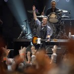 Bruce Springsteen performs with drummer Max Weinberg during the
