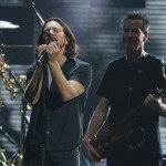 Musician Vedder performs with Waters during the