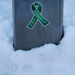 A memorial ribbon honoring the victims of the December 14th Sandy Hook Elementary School shootings is seen on a lamp post in Newtown