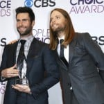 Levine and Madden of the band Maroon 5 pose with the award for favorite band backstage at the 2013 People's Choice Awards in Los Angeles