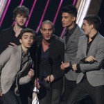 """Musical group """"The Wanted"""" accept their award for """"Favorite Breakout Artist"""" at the 2013 People's Choice Awards in Los Angeles"""