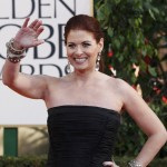Actress Debra Messing arrives at the 70th annual Golden Globe Awards in Beverly Hills