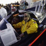Tony Wood drives the original Batmobile at the Barrett-Jackson collectors car auction in Scottsdale, Arizona