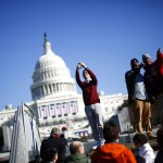 People gather near the Capitol building in Washington D.C.