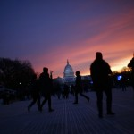 People arrive at the National Mall for the inauguration of U.S. President Obama in Washington