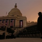 A man stands on the inaugural platform in Washington