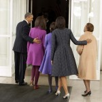 U.S. President Barack Obama arrives back at the White House with daughters Malia and Sasha, Michelle Obama and Michelle Obama's mother Marian Robinson in Washington