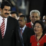 Venezuela's Vice President Nicolas Maduro and President of the Venezuelan Supreme Court of Justice Luisa Estella Morales, talk during a ceremony to mark opening of judicial year at Supreme Court of Justice in Caracas