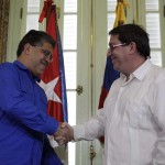 Cuba's Foreign Minister Bruno Rodriguez shakes hands with his Venezuelan counterpart Elias Jaua during their meeting in Havana