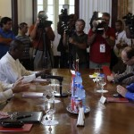 Cuba's Foreign Minister Rodriguez talks with his Venezuelan counterpart Jaua during their meeting in Havana