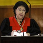 The President of the Venezuelan Supreme Court of Justice Luisa Estella Morales speaks during a ceremony to mark the opening of the judicial year at the Supreme Court of Justice (TSJ) in Caracas