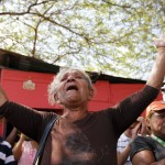 Relatives of inmates pray while protest outside the Centro Occidental prison as an uprising occurs inside at Barquisimeto