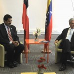 Handout photo showing Chile's President Sebastian Pinera meeting Venezuela's Vice President Nicolas Maduro in Santiago