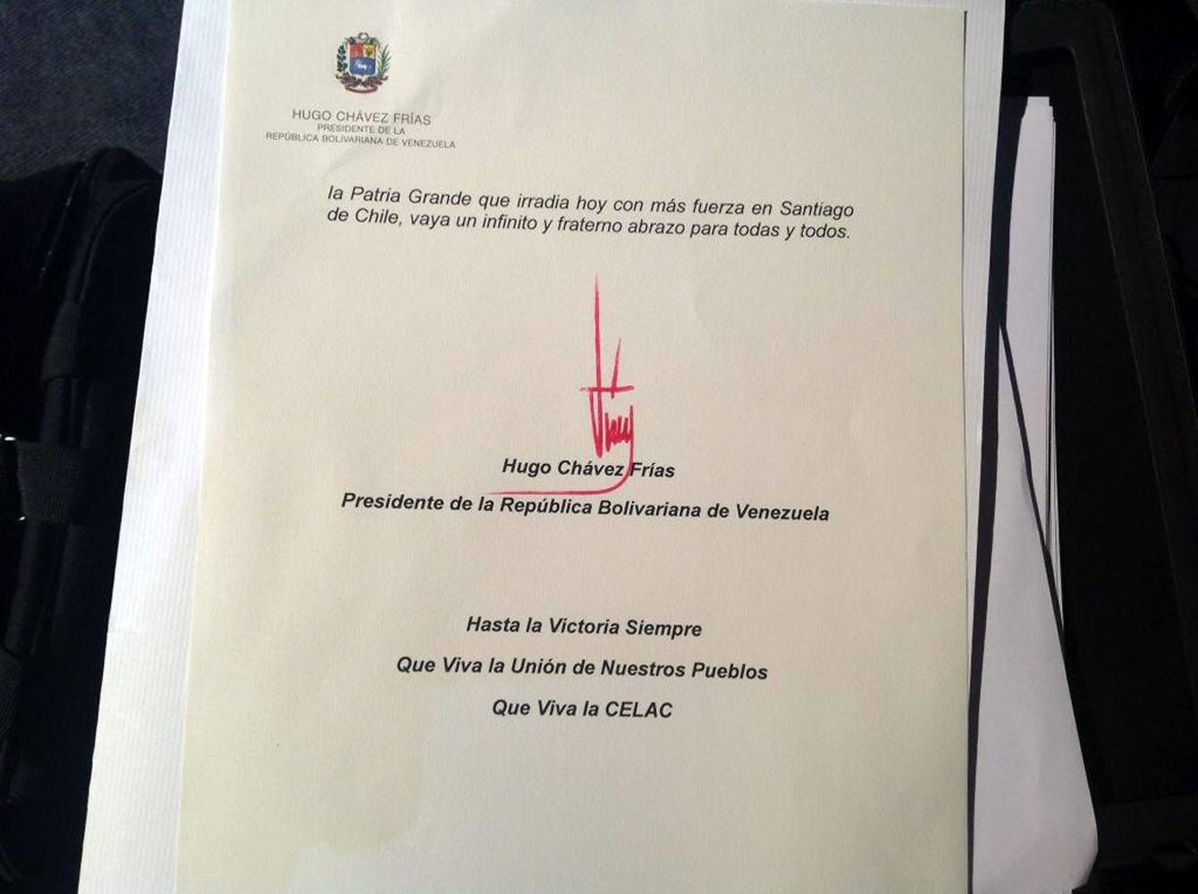 MADURO LEE CARTA DE CHÁVEZ EN LA ÚLTIMA JORNADA DE LA CUMBRE DE LA CELAC