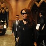 La Presidenta llega al hotel Emirates Palace, el más caro del mundo (Télam)