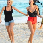 French model and reality star Nabilla Benattia takes to the beach with a group of friends to film scenes for her new reality show in Miami