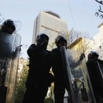 Police block a street leading to the headquarters of state oil giant Pemex in Mexico City
