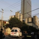 Ambulances arrive at the headquarters of state oil giant Pemex in Mexico City