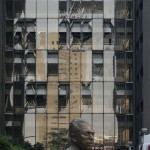 Shattered windows are seen on one side of the headquarters of state oil giant Pemex in Mexico City