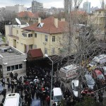 Riot police block a street after an explosion at the entrance of the U.S. embassy in Ankara