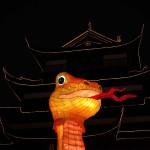 A snake lantern is seen among other Chinese New Year decorations at Yuyuan Garden in downtown Shanghai