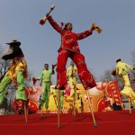 Folk artists perform on stilts at Longtan Park in Beijing