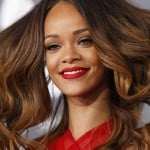 Singer Rihanna arrives at the 55th annual Grammy Awards in Los Angeles