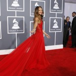 Singer Rihanna poses as she arrives at the 55th annual Grammy Awards in Los Angeles