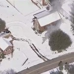 KNBC4 TV aerial image of a cabin where fugitive former Los Angeles police officer Christopher Dorner was believed to be barricaded in Big Bear