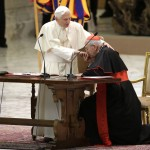 Pope Benedict XVI hand is kissed by Cardinal Vallini as he leads a special audience with priests of the Diocese of Rome in Paul VI's hall at the Vatican