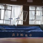 Broken windows and debris are seen inside a sports hall following sightings of a falling object in the sky in the Urals city of Chelyabinsk