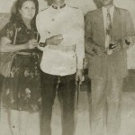 Venezuela's President Hugo Chavez is pictured during his Military Academy years with his parents Elena and Hugo