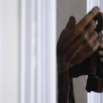 A part of a statue of Saint Peter is seen inside the summer residence of Pope Benedict XVI in Castel Gandolfo