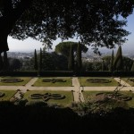 The garden inside the summer residence of Pope Benedict XVI is seen in Castel Gandolfo