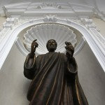 The statue of Saint Peter is seen inside the summer residence of Pope Benedict XVI in Castel Gandolfo