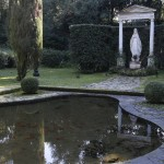 A statue of the Virgin Mary is seen next to a pond, where the pope in the past has been seen feeding the fishes, inside his summer residence of Castel Gandolfo