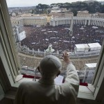 Pope Benedict XVI leads his last Angelus prayer before stepping down in Saint Peter's Square at the Vatican