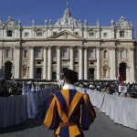 A general view of a packed Saint Peter's Square where Pope Benedict XVI holds his last general audience, at the Vatican