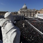 A general view of a packed Saint Peter's Square at the Vatican where Pope Benedict XVI holds his last general audience