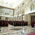 Pope Benedict XVI addresses during the last meeting with the Cardinals at the Vatican